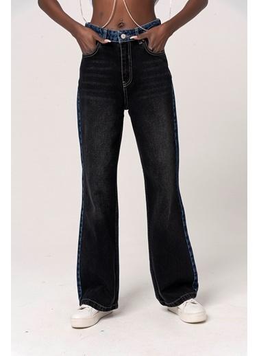 Coral Çift Renkli Bol Kot Pantolon Siyah Siyah